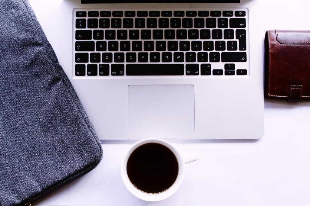 laptop wallet black coffee